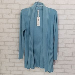 NY collection blue Ribbed open cardigan size L/XL
